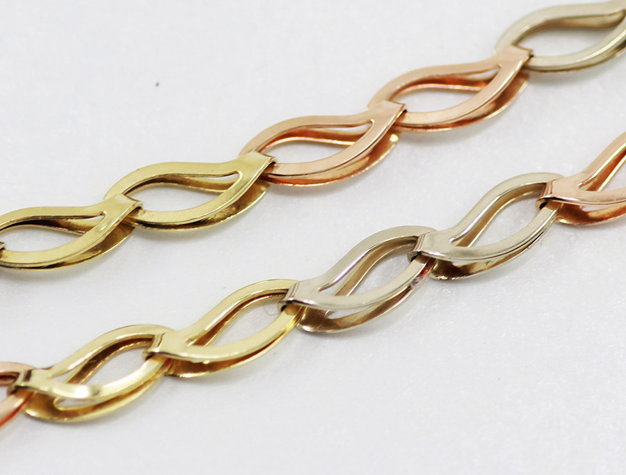 Tříbarevný zlatý řetízek - 500 šperků online 2ef6f47284c