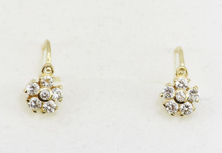f13f6f34d Dětské zlaté náušnice květinka s kamínky - 200 šperků online