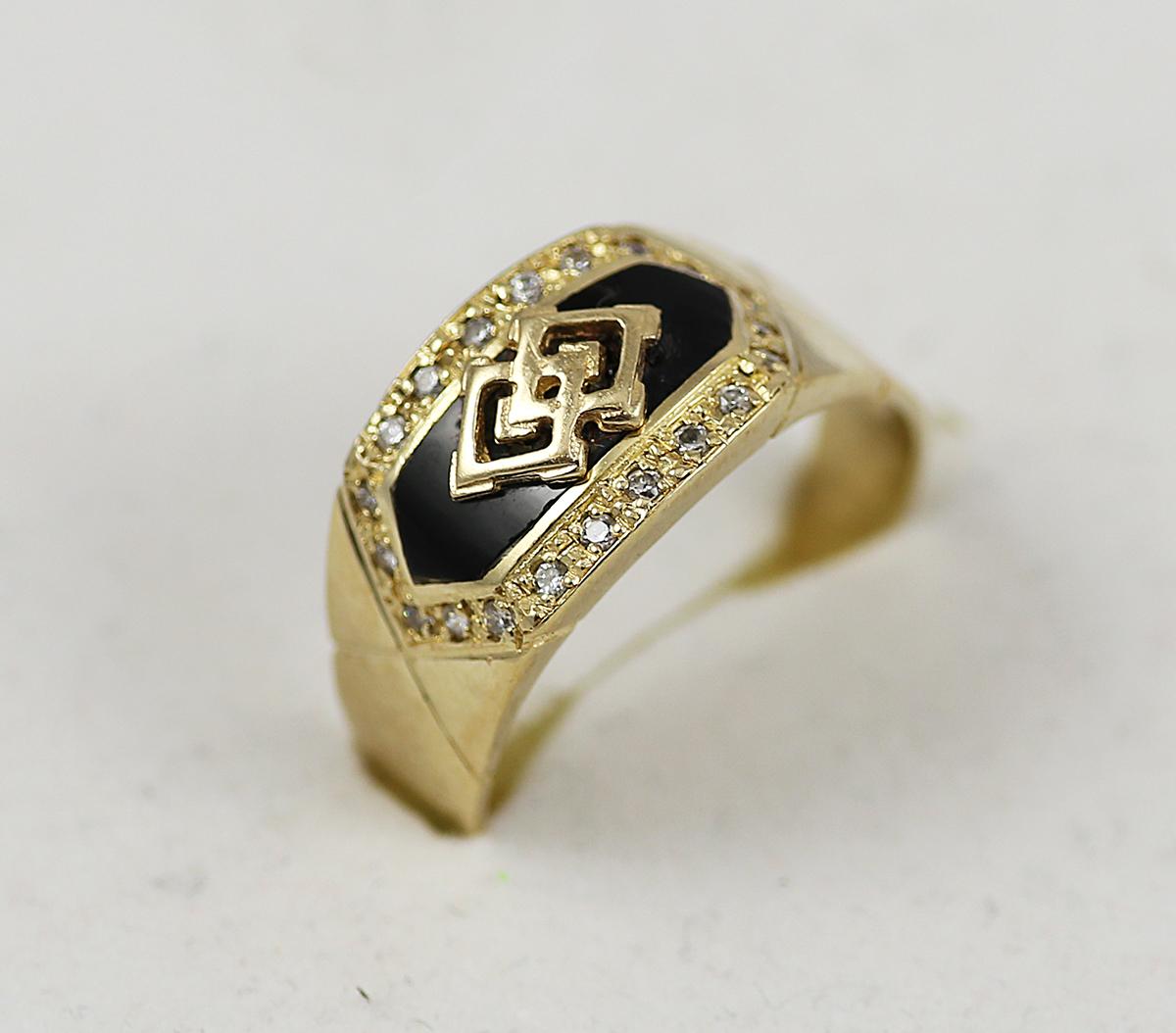 d5ad218ae8a Pánský zlatý prsten s černým kamenem