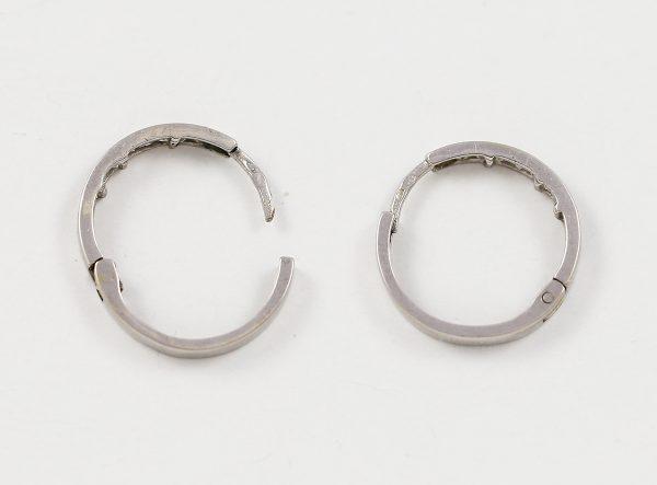 Náušnice kruhy z bílého zlata s čirými kameny