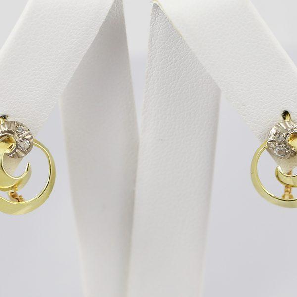 Dámské zakroucené náušnice kombinující žluté a bílé zlato