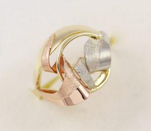 Zlatý masivní prsten kombi