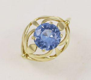 Prsten velký modrý kámen