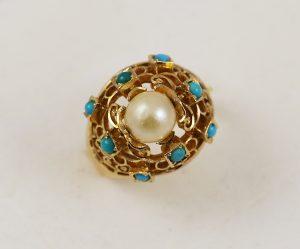 Luxusní prsten s perlou a tyrkysem