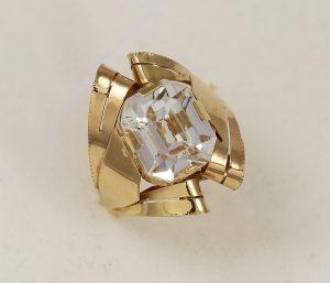 Prsten červené zlato velký kámen