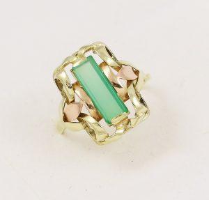 Prsten zelený kámen retro