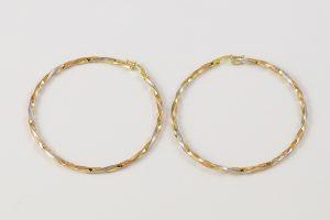 Zlaté náušnice velké barevné kruhy