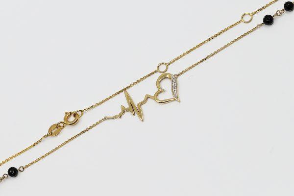 Zlatý náhrdelník s diamanty a acháty