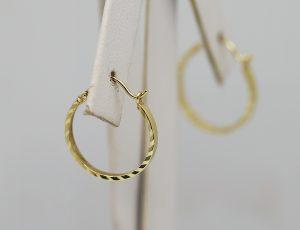 Broušené zlaté kruhové náušnice