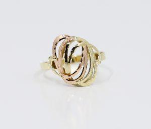 Zlatý prsten s dvoubarevnými půlměsíci